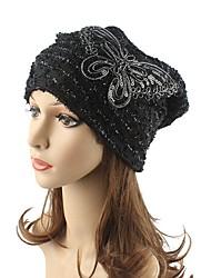 cheap -Women's Headwear Chic & Modern Knitwear Cotton Beanie / Slouchy Floppy Hat-Striped Sequins Fall Winter White Black Khaki / Cute