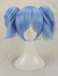 cheap -blue cosplay wigs synthetic hair medium straight costume wig with 2 removeabe ponytails Halloween