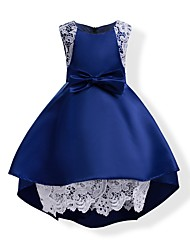 cheap -Kids Girls' Bow Solid Colored Sleeveless Dress Blue / Cotton