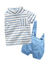 cheap -Baby Boys' Stripes Cotton / Holiday / Going out Stripes Short Sleeves Regular Clothing Set White / Casual / Daily