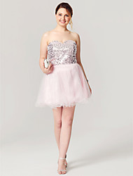 cheap -A-Line Fit & Flare Sparkle & Shine Lace Up Homecoming Cocktail Party Prom Dress Sweetheart Neckline Sleeveless Short / Mini Tulle Sequined with Pleats Sequin 2020