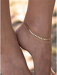 cheap -Women's Barefoot Sandals Geometrical Stacking Stackable Double Ladies Fashion Anklet Jewelry Gold For Dailywear Daily Casual Casual / Daily