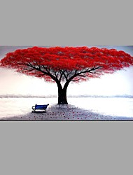 cheap -Hand-painted Red Tree Oil Painting Fallen Leaves Contemporary Art Decor Ready to Hang 100*50cm