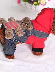 cheap -Cat Dog Jumpsuit Winter Dog Clothes Costume Down Cotton Jeans Casual / Daily XS S M L