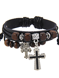 cheap -Leather Bracelet Cross Friends Vintage Natural Stretch Gothic Hip-Hop Basketwork Bracelet Jewelry Black / Brown For Birthday Party / Evening Dailywear Sports Cocktail Party Quinceañera & Sweet Sixteen