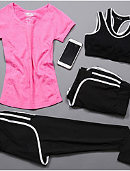 cheap -Women's Spandex Workout Set Activewear Set Yoga Suit Yoga Running Exercise & Fitness Cycling Quick Dry Camping & Hiking Sportswear Tracksuit Underwear Compression Clothing Short Sleeve Activewear
