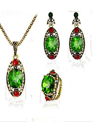 cheap -Women's Crystal Synthetic Ruby Synthetic Emerald Bridal Jewelry Sets Drop Vintage Crystal Cubic Zirconia Gold Plated Earrings Jewelry Green For Party Anniversary Event / Party Dailywear