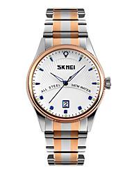 cheap -SKMEI Men's Wrist Watch Japanese Quartz Stainless Steel Multi-Colored 30 m Water Resistant / Waterproof Calendar / date / day Cool Analog Classic Dress Watch - Black Blue Golden