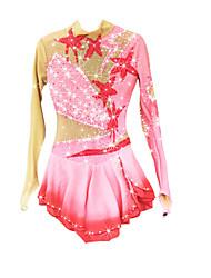 abordables -21Grams Robe de Patinage Artistique Femme Fille Patinage Robes Rose Pale Spandex Haute élasticité Compétition Tenue de Patinage Chaud Fait à la main A Bijoux Strass Manches Longues Patinage sur glace