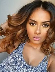 cheap -Human Hair Glueless Full Lace Full Lace Wig style Brazilian Hair Body Wave Wig 130% Density with Baby Hair Ombre Hair Natural Hairline African American Wig 100% Hand Tied Women's Short Medium Length
