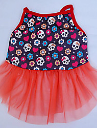 cheap -Dog Dress Dog Clothes Skull Orange Blue Cotton Costume For Summer Women's Casual / Daily