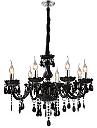 "cheap -1-Light LWD 70(28"") Crystal Chandelier Glass Candle-style Electroplated Modern Contemporary 110-120V / 220-240V"