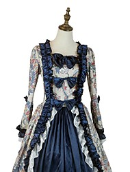 cheap -Vintage Victorian 18th Century Party Costume Women's Costume Ink Blue / Blue / Gray Vintage Cosplay Long Sleeve Asymmetrical / Petticoat