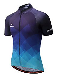 cheap -Miloto Men's Short Sleeve Cycling Jersey - Dark Blue Gradient Bike Jersey Top, Quick Dry Reflective Strips Polyester Coolmax® / Stretchy