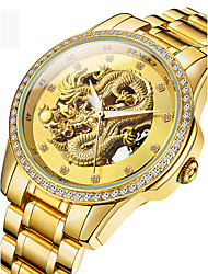 cheap -Men's Skeleton Watch Wrist Watch Automatic self-winding Luxury Water Resistant / Waterproof Analog Gold / White Black / Silver Black / Stainless Steel / 24K Gold Plated / Japanese / Hollow Engraving