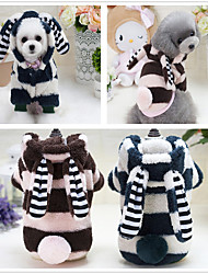 cheap -Dog Hoodie Jumpsuit Pajamas Winter Dog Clothes Green Blue Pink Costume Woolen Polyester Plush Fabric Cartoon Party Birthday Holiday S M L XL XXL