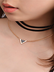 cheap -Women's Pendant Necklace Layered Necklace Geometric Fashion Euramerican Rhinestone Chrome Alloy Gold Necklace Jewelry For Dailywear Daily Casual Going out Casual / Daily