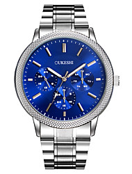 cheap -Men's Wrist Watch Quartz Metal Silver Large Dial Analog Charm Luxury Classic Casual Simulated Diamond Watch - White Black Blue