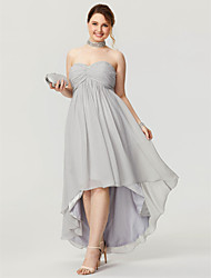 cheap -A-Line Elegant Minimalist High Low Quinceanera Prom Dress Sweetheart Neckline Sleeveless Asymmetrical Chiffon with Ruched Beading 2020