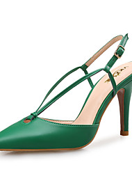 cheap -Women's Sandals Pointed Toe Leather Novelty Spring / Summer Black / Almond / Green / Party & Evening / Party & Evening