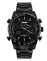cheap -SKMEI Men's Fashion Watch Wrist Watch Digital Watch Digital Stainless Steel Black Water Resistant / Waterproof Calendar / date / day Cool Analog - Digital Red Green Blue Two Years Battery Life