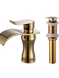 cheap -Faucet Set - Waterfall Gold Centerset Single Handle One HoleBath Taps