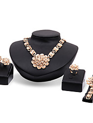 cheap -Women's Jewelry Set Flower Statement Personalized Luxury Vintage Fashion Euramerican Rhinestone Gold Plated Earrings Jewelry Gold For Party Special Occasion Housewarming Congratulations Thank You