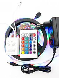 Недорогие -Наборы подсветки 5 м / RGB полосы света 300 светодиодов 3528 smd 8 мм 1 Пульт дистанционного управления 24 ключа / 1 х 12 В 2a адаптер RGB Cuttable / водонепроницаемый / декоративный 12 В 1set / IP65