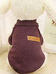 Недорогие -Собака Свитера Толстовка Одежда для собак Однотонный Синий Розовый Хаки Пух Хлопок Костюм Назначение Весна & осень Зима Муж. Жен. На каждый день
