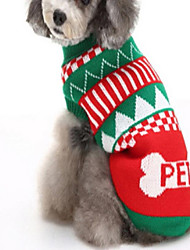 cheap -Dog Sweater Winter Dog Clothes Green Blue Costume Acrylic Fibers Color Block Casual / Daily Christmas S M L XL XXL