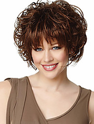 cheap -Synthetic Wig Wavy Wavy With Bangs Wig Short Chocolate Synthetic Hair Women's Brown