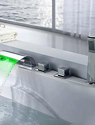 Недорогие -смеситель для ванны - полный / современный / из хромированного латунного клапана смеситель для душа для ванны / три ручки пять отверстий