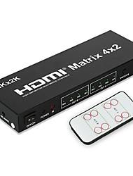 abordables -4k hdmi matrix 4input 2 output avec télécommande audio et adaptateur secteur