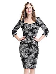 cheap -Women's Plus Size Black Dress Fall Party Work Bodycon Sheath Graphic Square Neck Print S M
