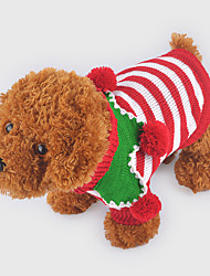 cheap -Dog Sweater Winter Dog Clothes Stripe Green Red Costume Woolen Stripes Christmas XXS XS S M L