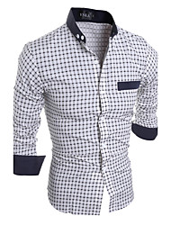 cheap -Men's Plus Size Striped Plaid Slim Shirt Active Daily Weekend Standing Collar White / Navy Blue / Summer / Long Sleeve