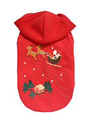 cheap -Dog Hoodie Winter Dog Clothes Red Costume Down Cotton Reindeer Christmas S M L XL
