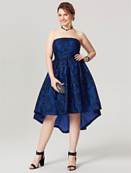 cheap -A-Line Elegant Open Back Holiday Homecoming Cocktail Party Dress Strapless Sleeveless Asymmetrical Lace Taffeta with Pleats 2020 / Prom