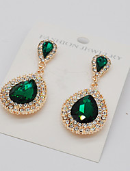 cheap -Women's Citrine Drop Earrings Hanging Earrings Pear Cut Solitaire Halo Teardrop Ladies Fashion Euramerican Bling Bling Elizabeth Locke Earrings Jewelry Green / Blue / Champagne For Wedding Party