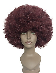 cheap -Synthetic Wig Cosplay Wig Afro Kinky Curly Kinky Curly Afro Wig Short Black / Dark Wine Synthetic Hair Women's Red