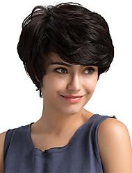 Недорогие -Человеческие волосы Парик Классика Естественные волны Короткие Прически 2019 Прически Холли Берри Классика Естественные волны Машинное плетение Черный Повседневные