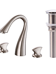 cheap -Widespread Brass Valve Two Handles Three Holes Nickel Brushed, Faucet Set Bath Taps