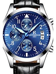 cheap -Men's Fashion Watch Quartz Leather Black / Brown 30 m Water Resistant / Waterproof Calendar / date / day Analog Coffee Blue Black / Silver