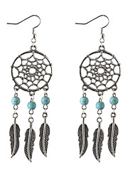 cheap -Women's Drop Earrings Leaf Dream Catcher Personalized Classic Tassel Bohemian Simple Style Fashion Silver Plated Turquoise Earrings Jewelry Silver For Christmas Christmas Gifts Wedding Party Special