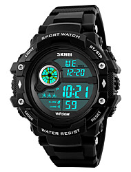 cheap -SKMEI Men's Sport Watch Military Watch Wrist Watch Japanese Digital Quilted PU Leather Black 50 m Water Resistant / Waterproof Alarm Calendar / date / day Digital Fashion - Black Two Years Battery