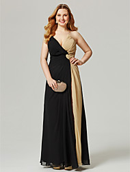 cheap -Sheath / Column Color Block Furcal Holiday Cocktail Party Prom Dress V Neck Sleeveless Floor Length Chiffon with Criss Cross Pleats Ruched 2021 / Formal Evening / Split Front