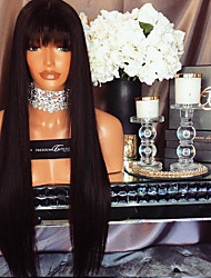 cheap -Remy Human Hair Glueless Lace Front Lace Front Wig With Bangs style Brazilian Hair Straight Wig 130% Density with Baby Hair Natural Hairline African American Wig 100% Hand Tied Women's Short Medium