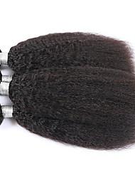 cheap -Indian Hair kinky Straight Yaki Remy Human Hair Natural Color Hair Weaves / Hair Bulk Human Hair Weaves Human Hair Extensions