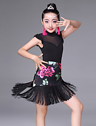 cheap -Latin Dance Skirts Tassel Pattern / Print Splicing Performance Sleeveless High Spandex Tulle Milk Fiber