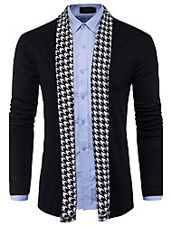 cheap -Men's Daily Color Block Long Sleeve Regular Cardigan Sweater Jumper, V Neck Spring / Fall Wool Black / Gray M / L / XL
